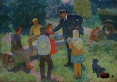 Ленин и дети  145-200 см. холст масло