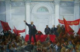 Выступление Ленина 130-200 см. холст масло 1970-е г.