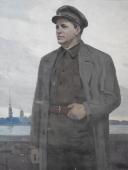 Портрет мужчины в кепке 170-130 см. холст масло