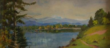 Озеро Иссык-Куль 23-49 см. картон масло 1970е