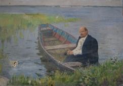 Ленин в лодке 91-130 см. холст масло 1970е