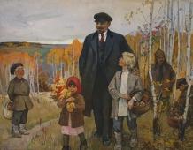 Ленин с детьми 140-180 см холст масло  1973г.