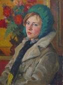 Девушка в зеленой шапке  60-45 см.  картон масло 1960е