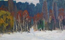 Пейзаж Опушка леса  20-31 см. картон масло 1970е