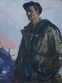 Портрет ремонтника 120-90 см. холст масло 1969г