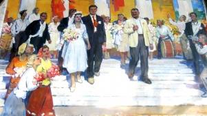 Свадьба 120-200 см. холст масло 1960-г.