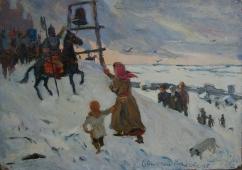 Евпатий Коловрат 25-35 см. картон масло 1960е