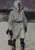 Солдат 48-34 см. картон масло  1970е