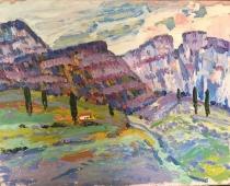 Горный пейзаж 45-35 см., картон, масло 1970е