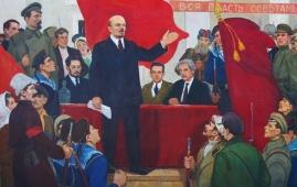 Выступление  Ленина 125-195 см. холст масло   1970 г.