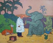 Айболит и слон 80-100 холст, масло