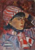 Портрет девушки в полосатой шапке  50-35 см.  картон масло 1963г