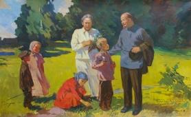Ленин с детьми 130-205 см. холст масло 1970е