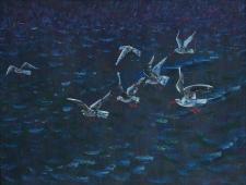 Чайки над озером 50-70 см. картон темпера 1989г.