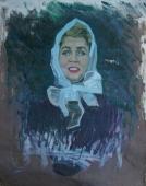 Портрет девушки в белом платке  98 -79 см. холст масло   1970е