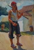 Портрет юного рыбака   33,5-23,5 см.  картон масло 1970 е