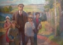 Ленин и дети на речке 179-200 холст, масло 1960г.