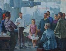 Студенты агитаторы среди рабочих 120-160 холст, масло 1970г.