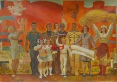 Пионеры и герои труда 170-239 см. холст масло 1978г
