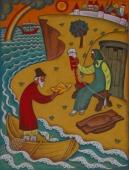 Сказка о рыбаке и рыбке 80-70 см. картон масло 1979 г.