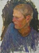 Портрет юноши в голубом  50-37 см. картон масло 1970е