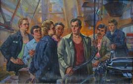 Бригада Цуканова 105-162 см. холст масло 1986 г