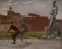 Итальянские работники на велосипедах 1935. Холст, масло.