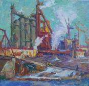 Завод Весна 75-78 см. холст масло 1970-е г.