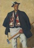 Портрет  гуцула 110-80 см. холст масло 1970е