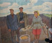 Зерно для посева 195-230 холст, масло 1986г.