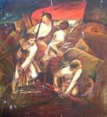 Революция. Эскиз росписи 55-63 фанера, левкас, масло