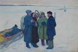 Ленин с крестьянами 100-150 холст, масло 1960г.