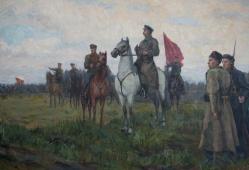 Впереди красный командир 104-152 холст, масло 1948г.