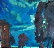 Залив в лунную ночь 15-18 см., картон, масло 1980