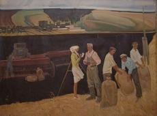 Трудящиеся в колхозе 120-160 холст, масло 1975г.