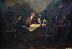 Важный разговор с  Лениным  130-190 см. холст масло 1976 г.