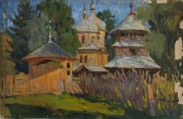 Деревянная церковь 38-56 см. картон масло 1956 г