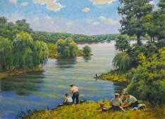 У реки. Пейзаж 110-150 холст, масло 1986г.