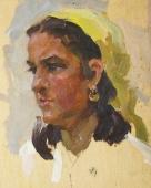 Девушка в желтой косынке 20-16 см. картон масло 1960е