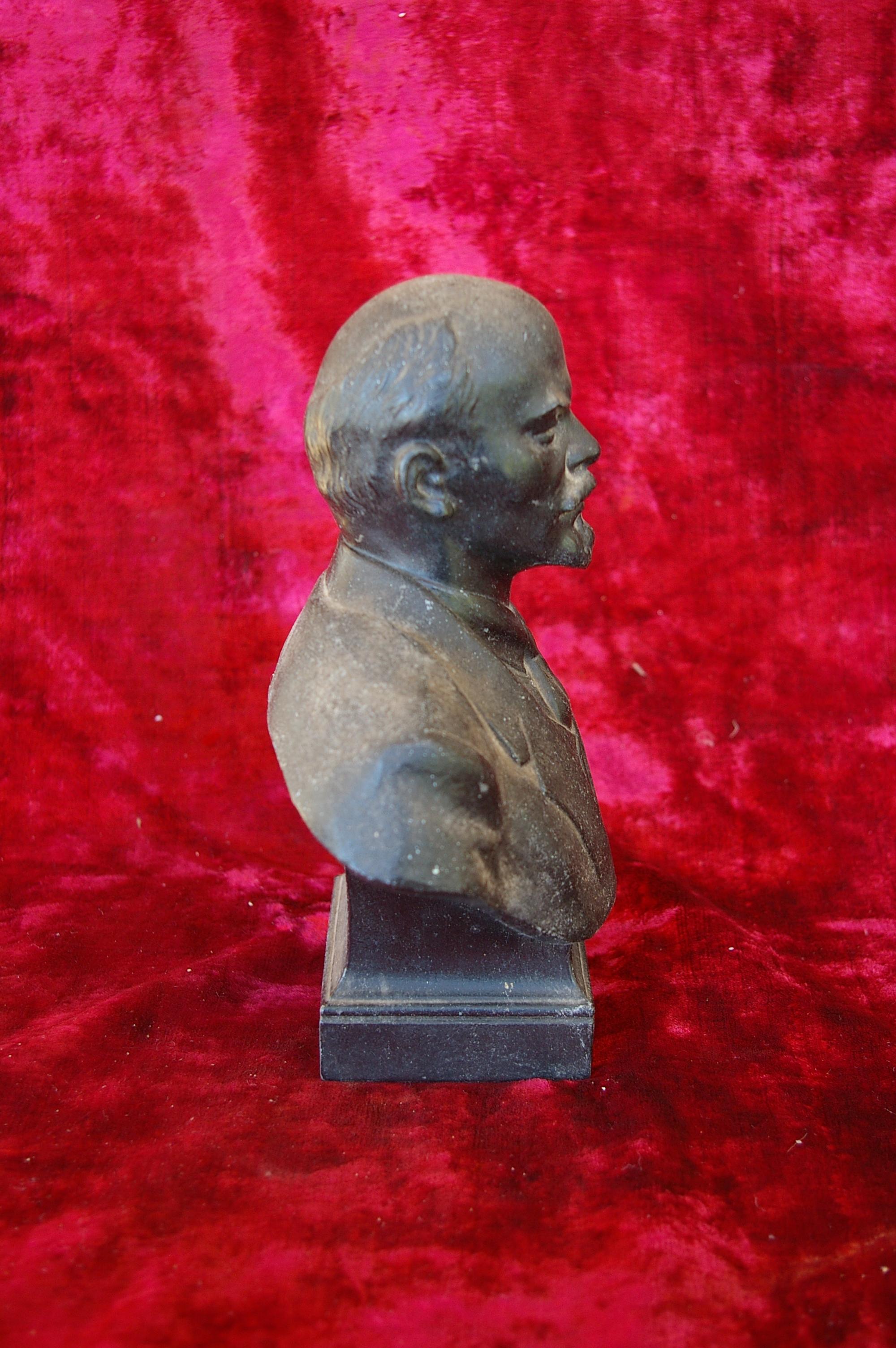 Ленин бюст, материал метал, высота 24 см., ширина 7 см., длина 7 см.  - 3