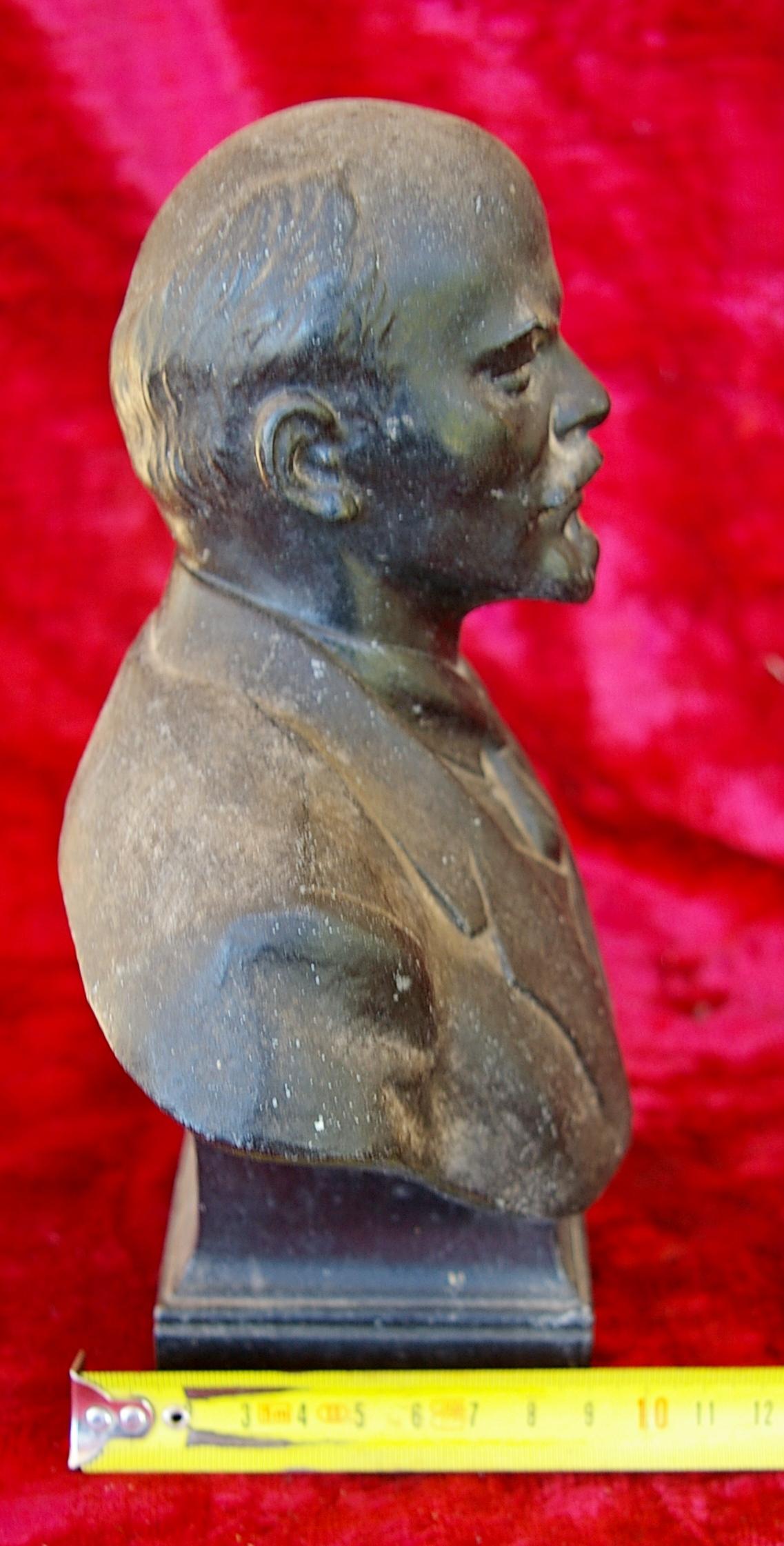 Ленин бюст, материал метал, высота 24 см., ширина 7 см., длина 7 см.  - 9