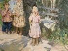 Ленин и дети 188-123 см., холст, масло 1970е  - 2