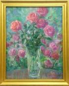 Натюрморт с розами 50-35 см., картон, масло 1993 год - 1