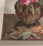 Гладиолусы 75-50 см.,картон, масло 1981 год  - 1