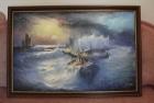 Рыбацкие лодки на высоких волнах 67,7-105 см., холст, масло 1970-е - 1
