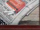 Натюрморт с килькой, столичкой, газетой и сигаретами тройка 51-40 см., холст, масло 1960-е - 3