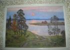 Теплый вечер 23-33 см., картон, масло 1983  - 1