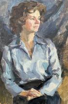Двухсторонний портрет девушки 60-40 см., картон, масло 1960-1970 года - 1