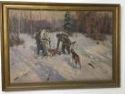 Охота с собаками 90-130 см., холст, масло 1957 - 1