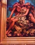 Влюбленная пара американский индеец с девушкой на руках 70-85 см., бархат черный, масло 1950е  - 1